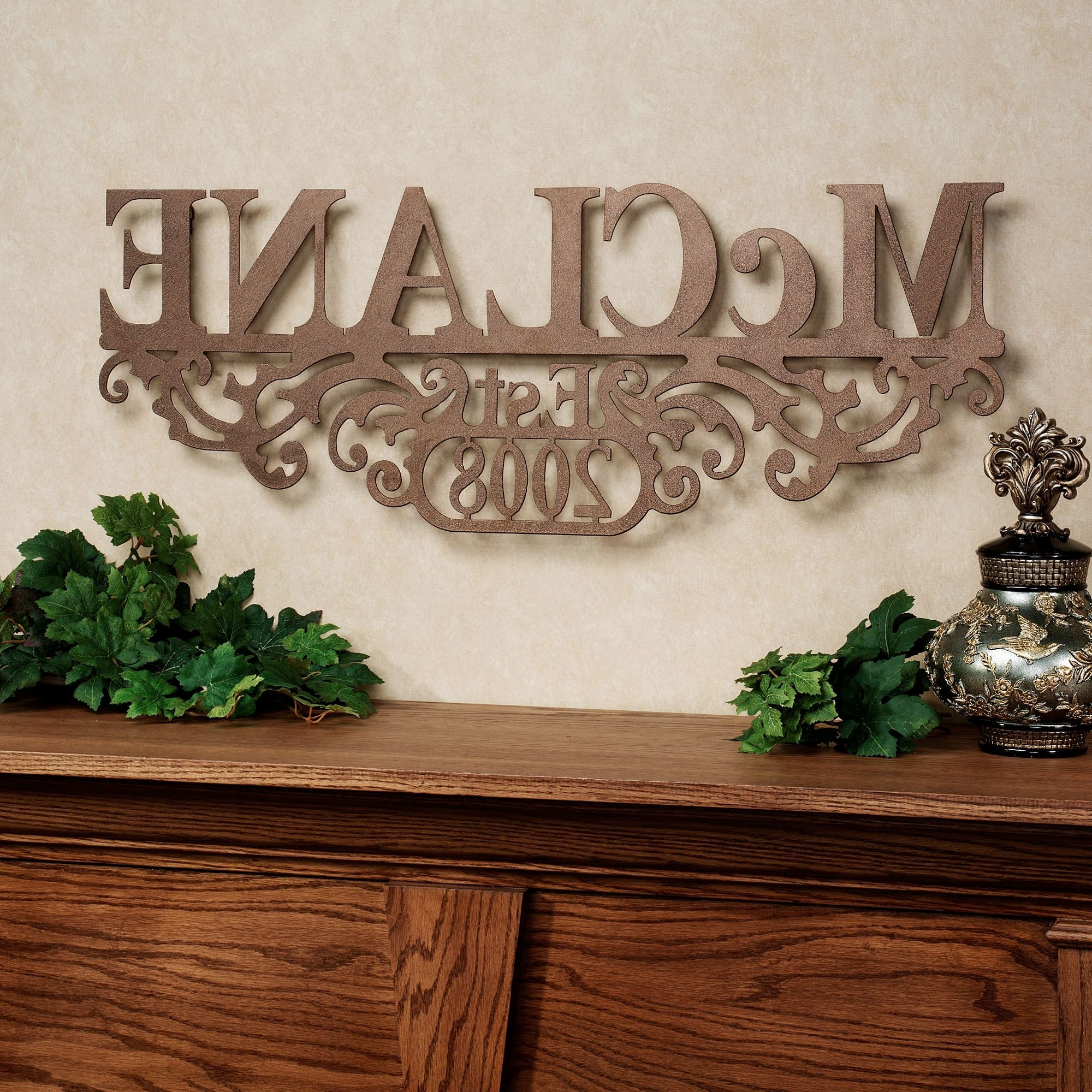 Recent Personalized Wall Art With Names Regarding Kinship Bronze Family Name And Year Personalized Metal Wall Art Sign (Gallery 12 of 15)