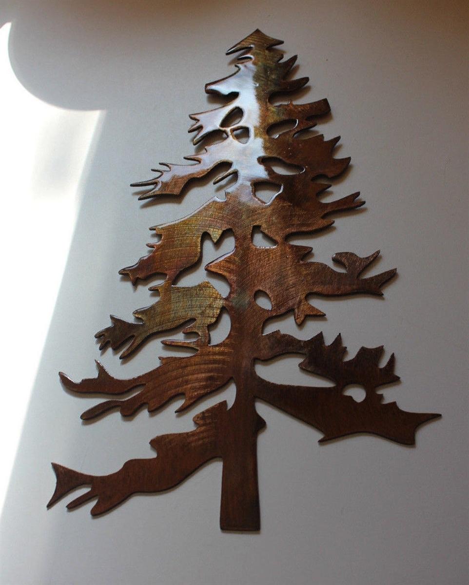Recent Pine Tree 2 Metal Wall Art Decor For Metal Pine Tree Wall Art (Gallery 1 of 15)