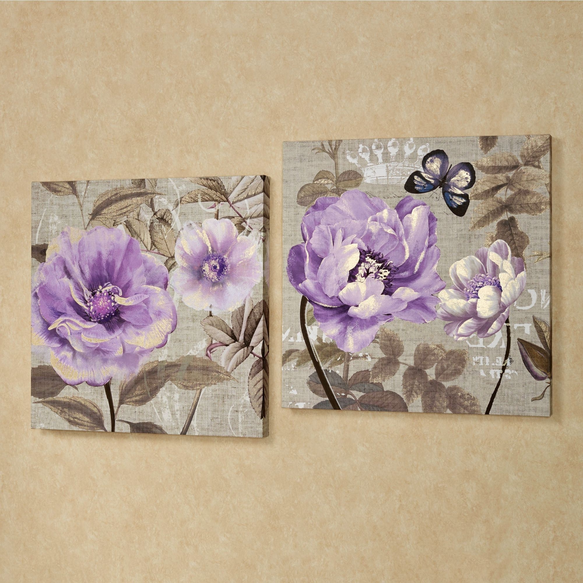 Recent Purple Wall Art For Floral Delight Purple Flower Canvas Wall Art Set (View 12 of 15)