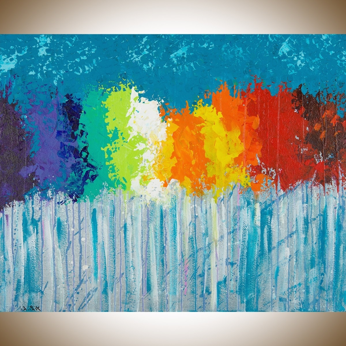 "Recent Rainbow Flowersqiqigallery 30""x24"" Original Modern Abstract With Regard To Blue Canvas Abstract Wall Art (View 13 of 15)"