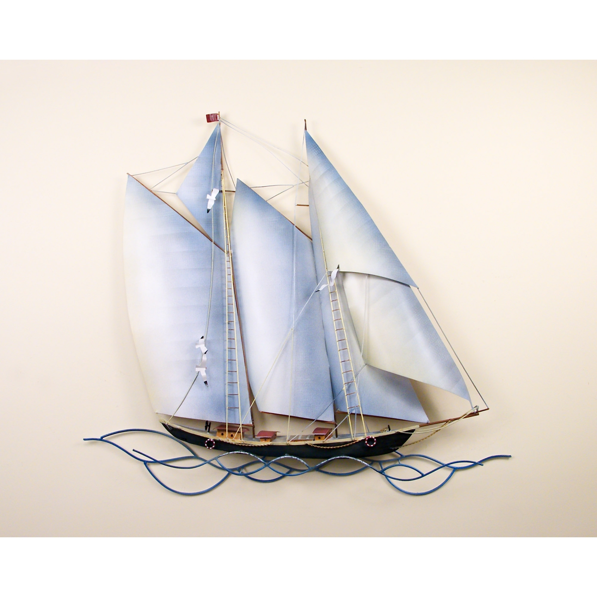 Recent Schooner Under Sail, Single Pertaining To Metal Sailboat Wall Art (View 8 of 15)