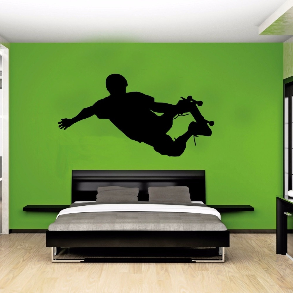 Recent Street Wall Art Decals Inside Skateboarder Silhouette Street Pop Sport Wall Art Sticker Decal (View 8 of 15)