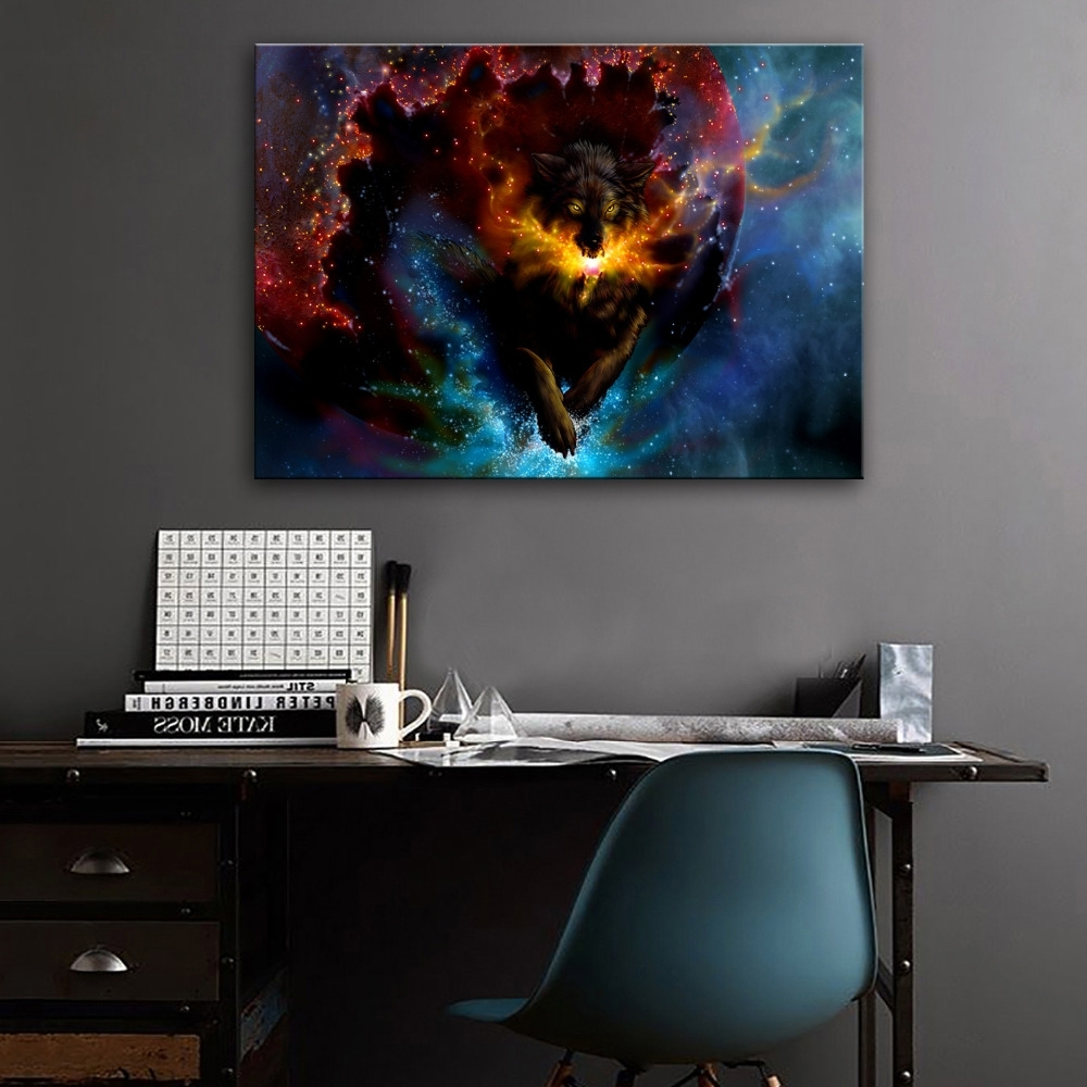 Recent Stretched Canvas Prints Fantastic Wolf Led Flashing Optical Fiber Within Fiber Optic Wall Art (View 2 of 15)