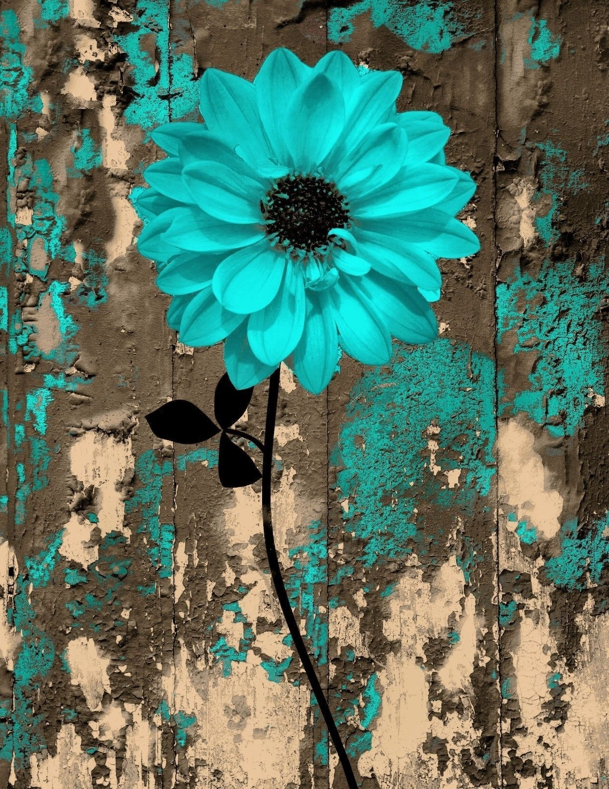 Recent Teal And Brown Wall Art Regarding Rustic Teal Brown Floral Bedroom/bathroom Wall Art Home Decor (View 11 of 15)