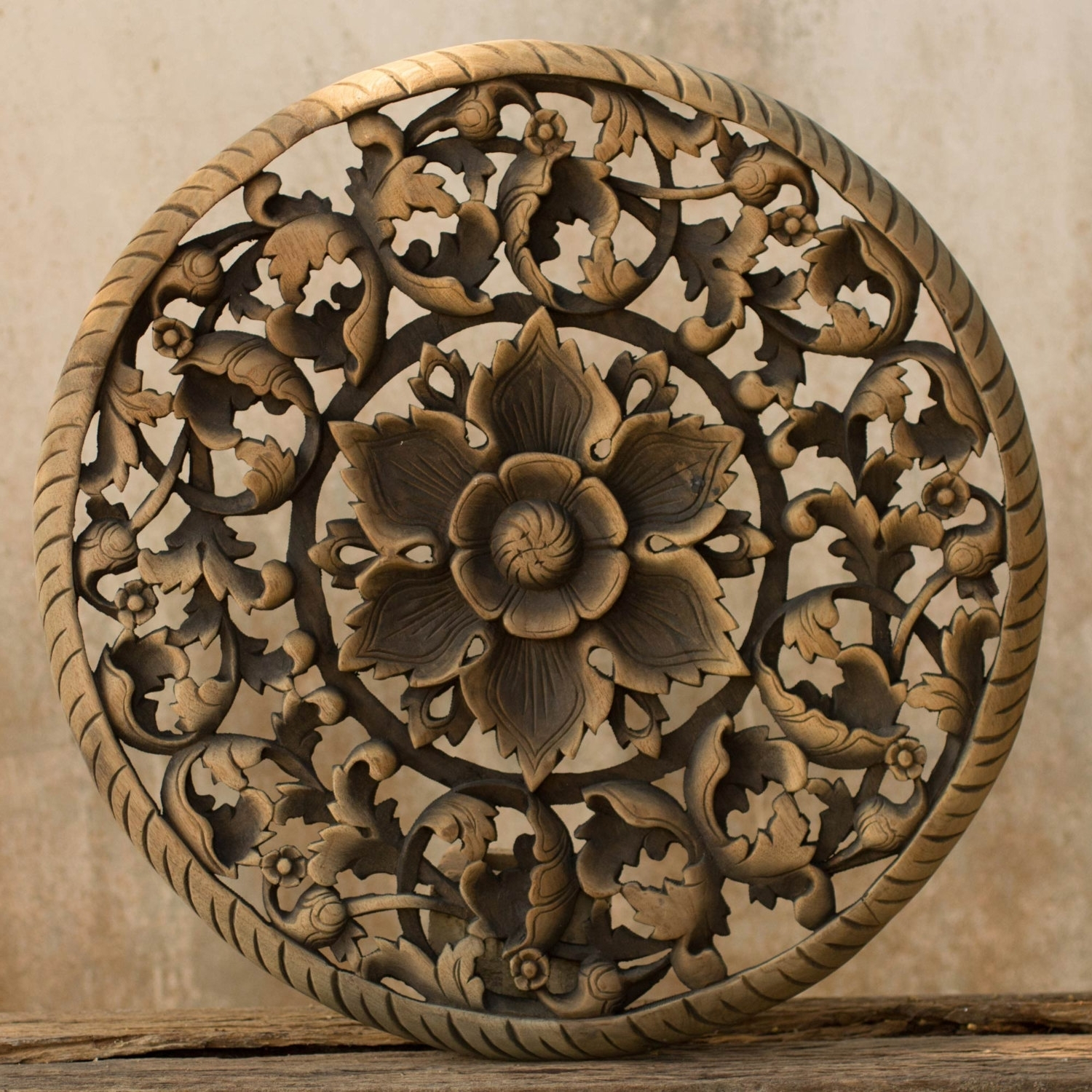 Recent Tree Dimensional Floral Wooden Wall Hanging – Siam Sawadee Regarding Wood Carved Wall Art Panels (Gallery 2 of 15)