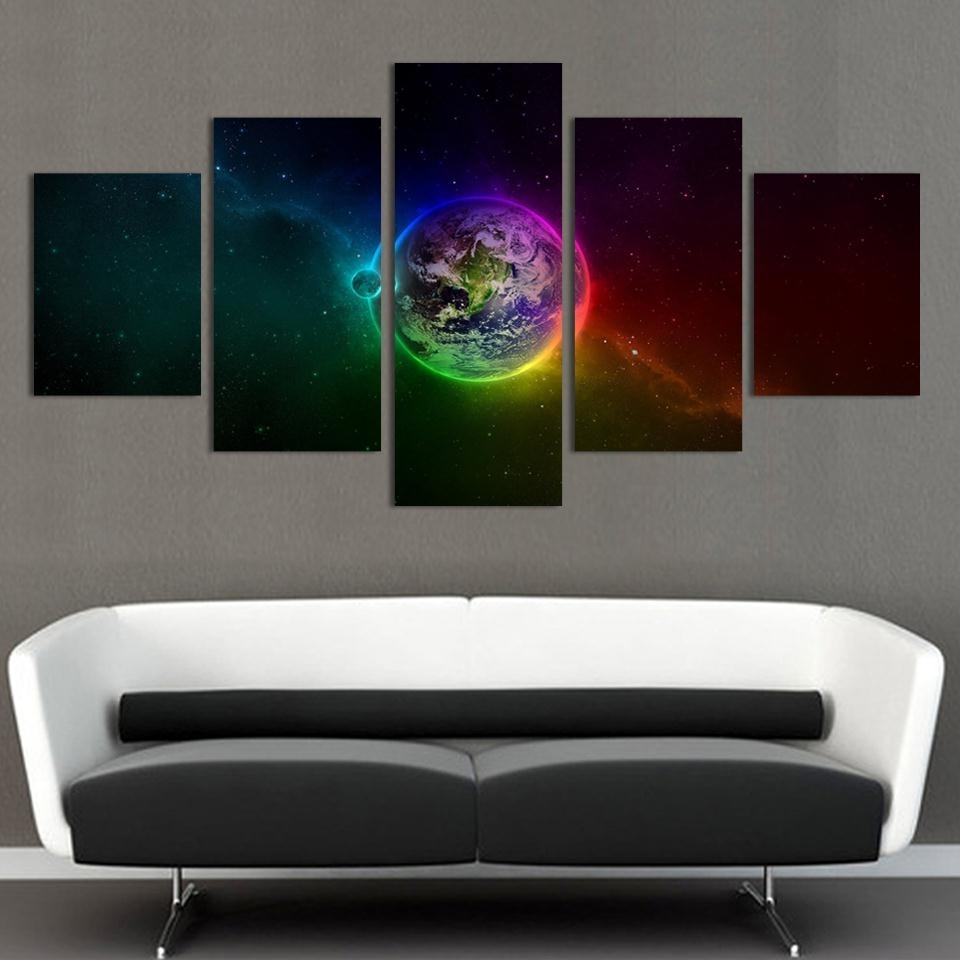 Recent Unframed Printed Planets Outer Space 5 Piece Painting Wall Art Regarding Outer Space Wall Art (View 6 of 15)