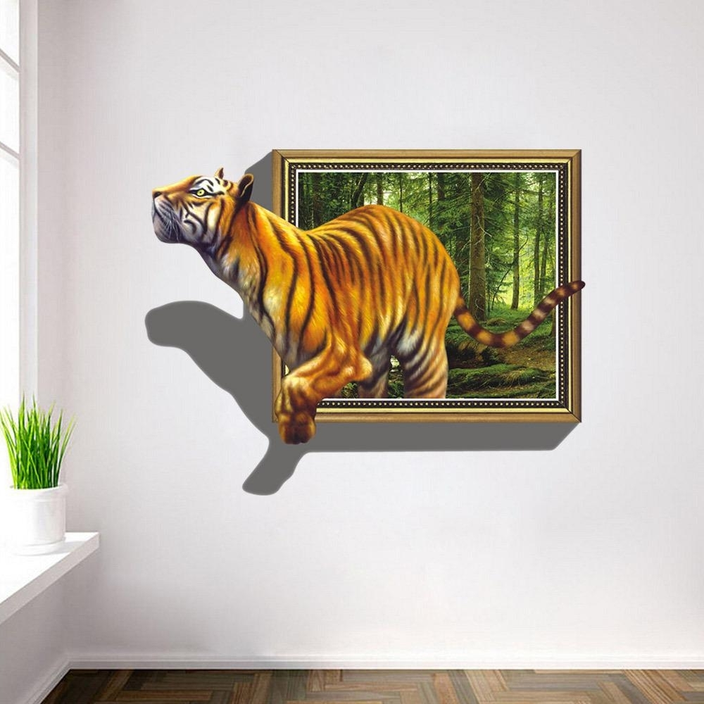 Recent Venezuela Wall Art 3d Pertaining To 2017 Wall Stickers 3d Tigers Picture Frame Extra Large Pvc (View 10 of 15)