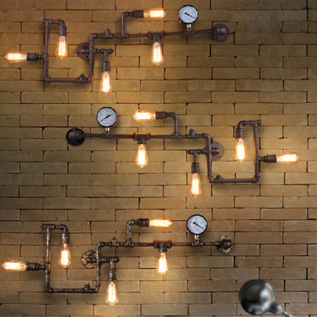 Recent Vintage Industrial Wall Art Inside Ideas On Vintage Industrial Pipe Walls Lamps Sconce Lights Home (View 7 of 15)