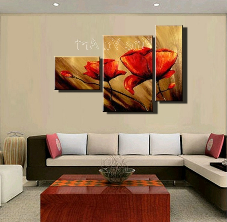 Recent Wall Art Designs: Discount Wall Art 3 Piece Abstract Modern Canvas Regarding Red Poppy Canvas Wall Art (Gallery 11 of 15)