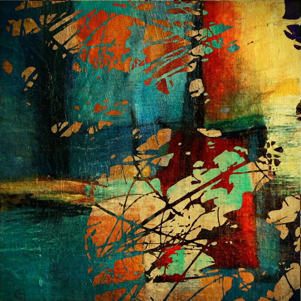 Recent Wall Art Teal Colour Regarding Modern Decor Abstract Painting Wall Decal (View 9 of 15)