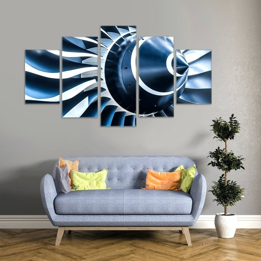 Recent Wall Arts ~ Aviation Turbine 5 Piece Canvas Wall Art Military Within Metal Airplane Wall Art (View 7 of 15)