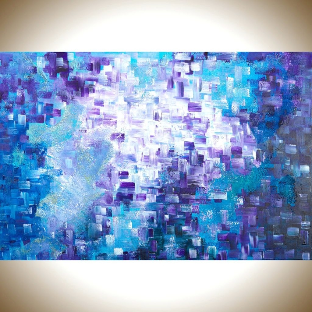 Recent Wall Arts ~ Giclee Print Art Modern Blue White Abstract Painting Regarding Dark Purple Abstract Wall Art (View 13 of 15)