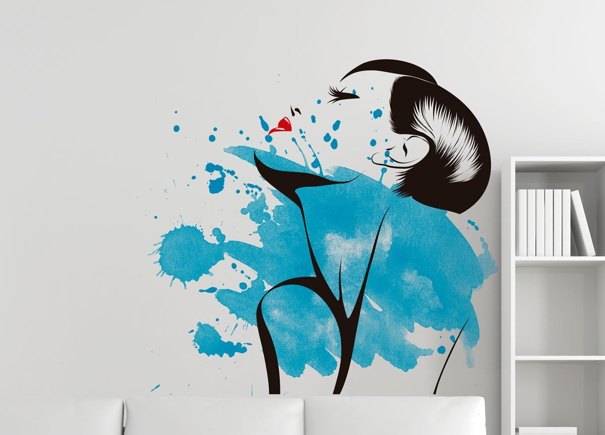 Recent Watercolor Woman Silhouette Wall Decal Art · Moonwallstickers For Sensual Wall Art (View 12 of 15)