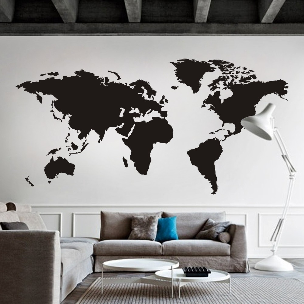 Recent World Map Wall Decal The Whole World Atlas Vinyl Wall Art Sticker Throughout Atlas Wall Art (View 9 of 15)