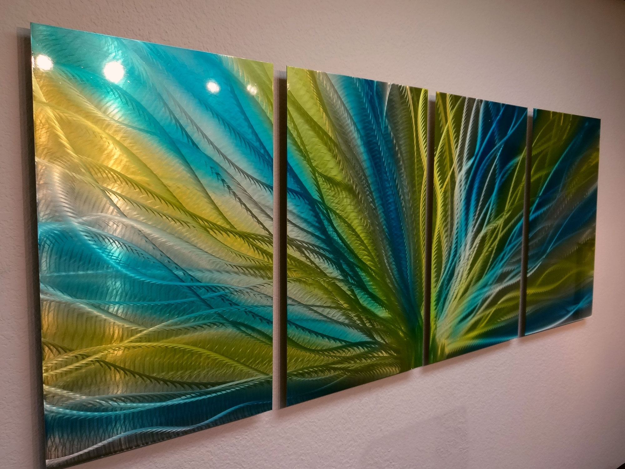 Recent Yellow And Blue Wall Art For Radiance Blue Yellow  Metal Wall Art Abstract Contemporary Modern (Gallery 1 of 15)