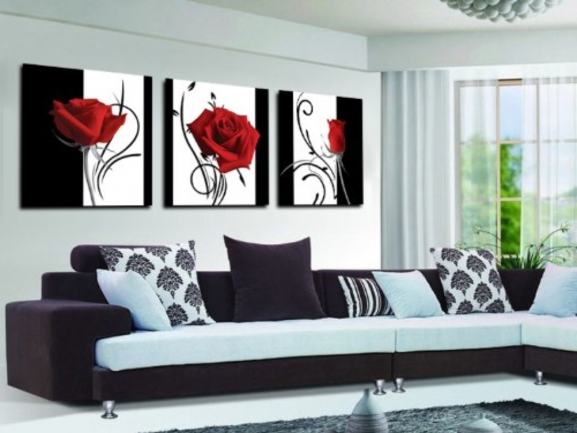 Red And Black Canvas Wall Art Intended For Newest Modern White And Silver Kitchens, Red Black White Canvas Wall Art (View 12 of 15)