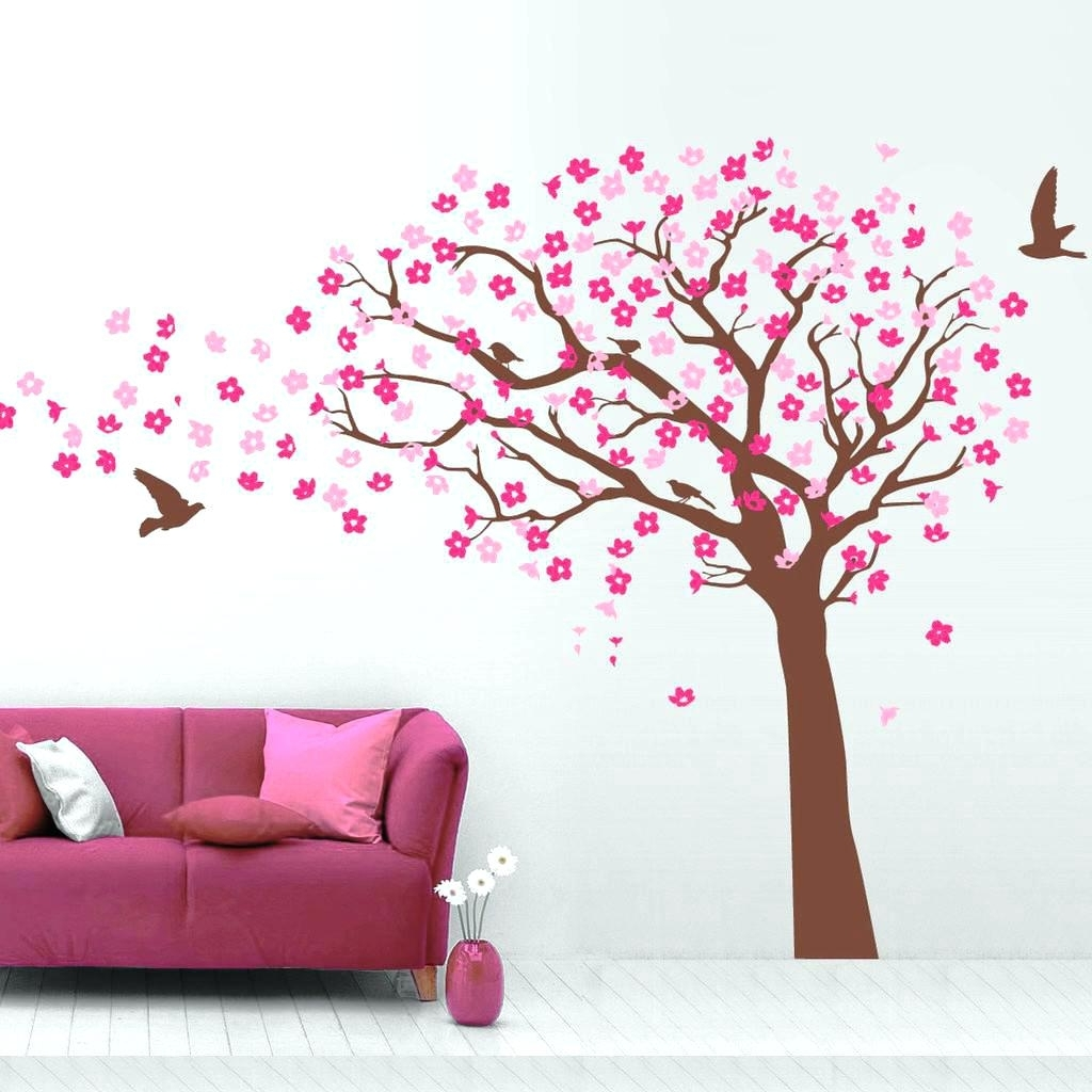 Red Cherry Blossom Wall Art For Well Known Cherry Blossom Branch Wall Decal Latest Red Cherry Blossom Wall (View 13 of 15)