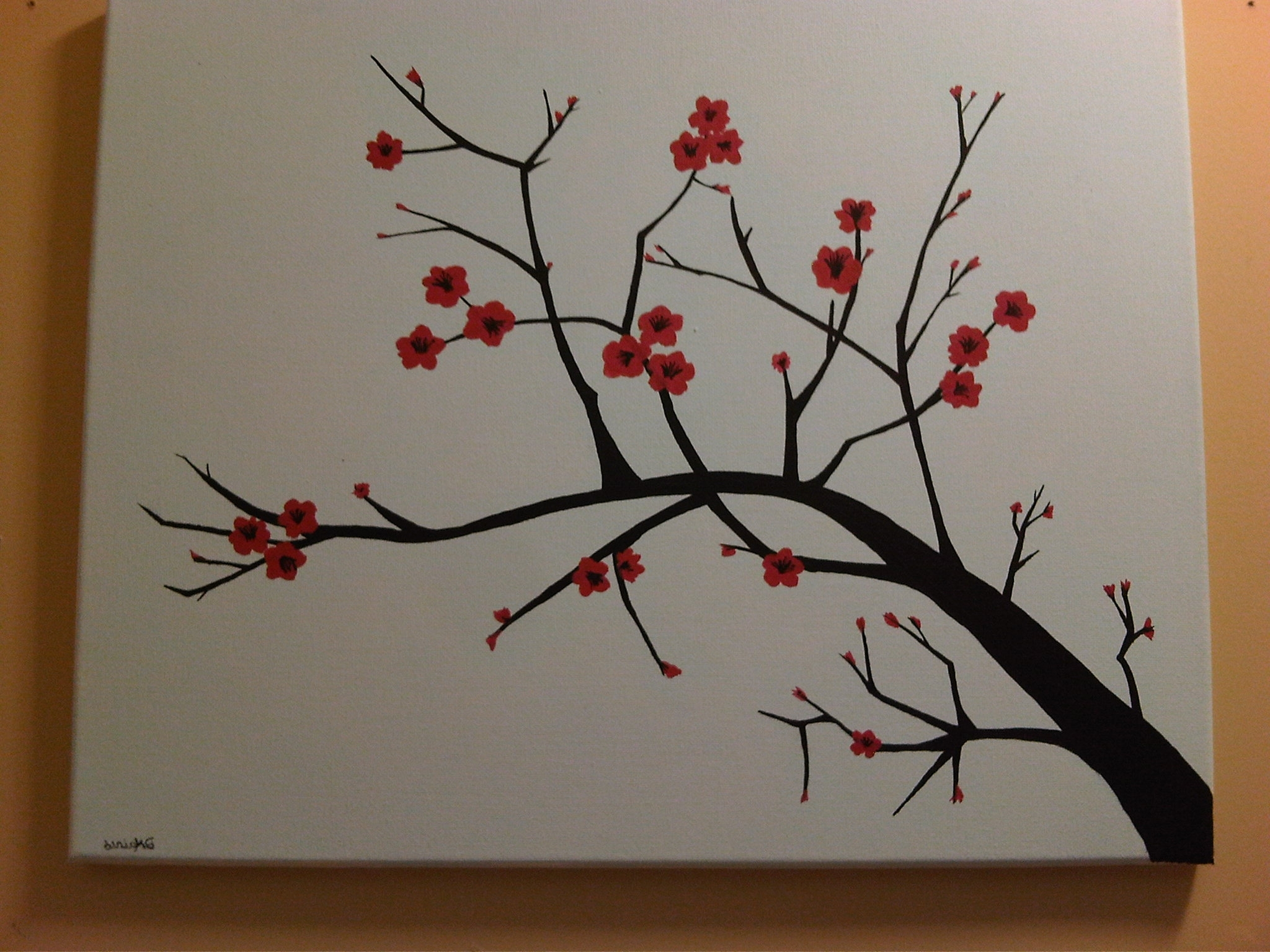 Red Cherry Blossom Wall Art Pertaining To 2017 Decoration: Beautiful Red Cherry Blossom Wall Mural Branch Cherry (View 15 of 15)