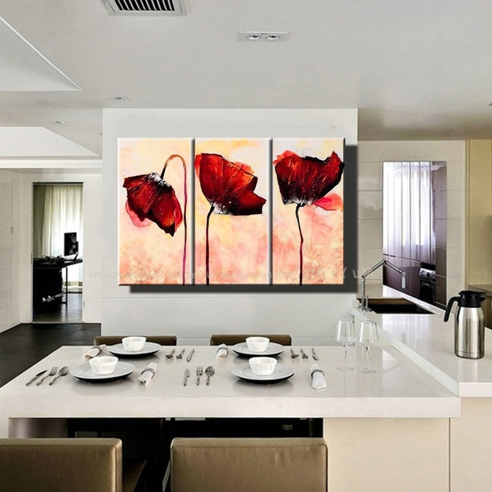 Red Poppy Canvas Wall Art Within Preferred Hand Painted Modern Wall Decor Painting 3 Piece Canvas Wall Art (Gallery 10 of 15)