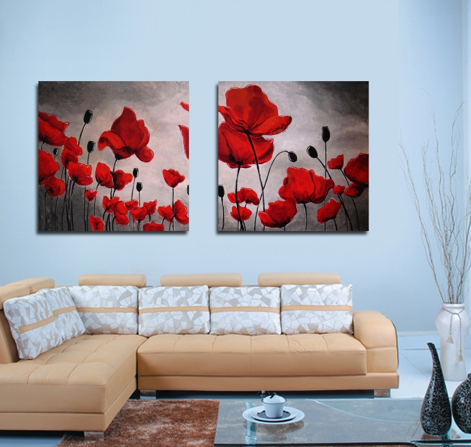 Red Poppy Painting Wall Art Canvas Prints Modern Art Paintings For In Favorite Red Poppy Canvas Wall Art (View 13 of 15)