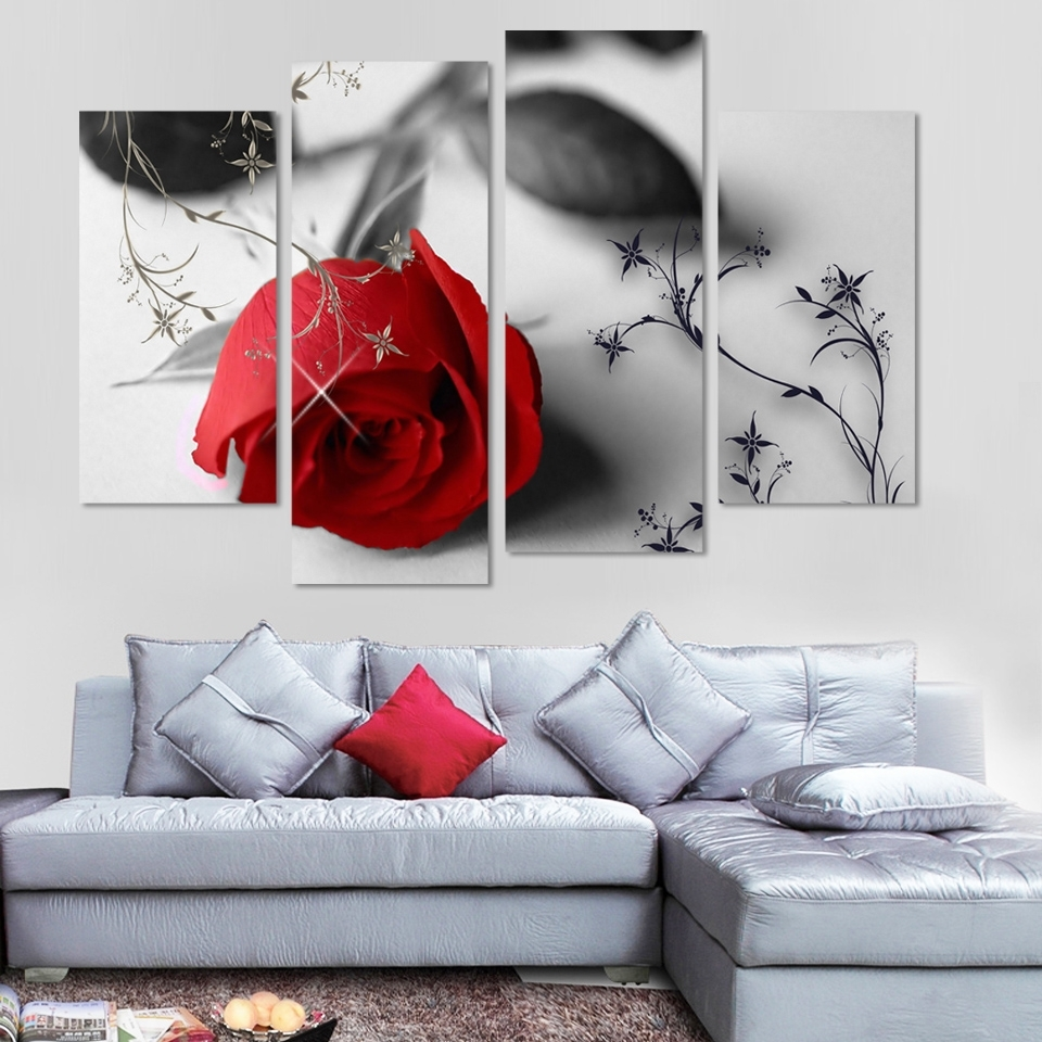 Red Rose Wall Art Inside Famous Aliexpress : Buy 4 Pcs Wall Art Red Rose Flowers Modern (View 9 of 15)