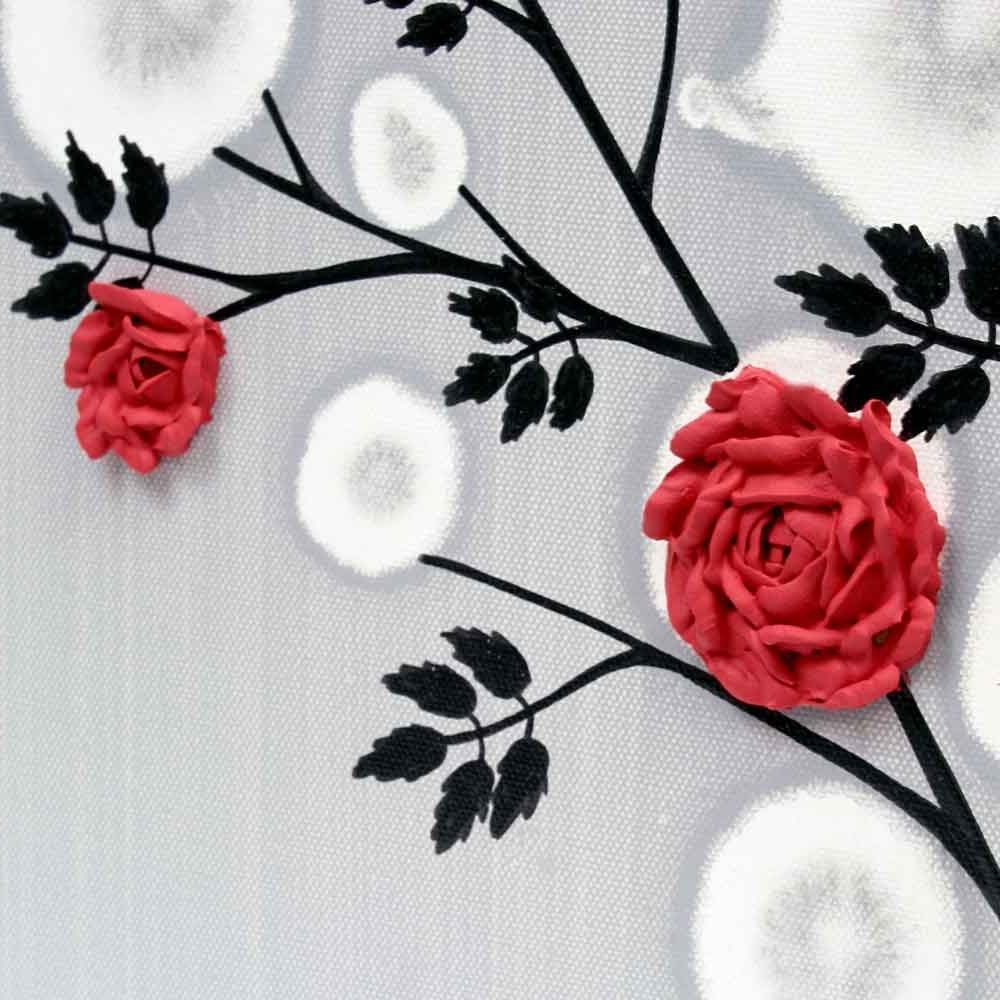 Red Rose Wall Art Painting On Gray And Black Canvas – Small (Gallery 15 of 15)