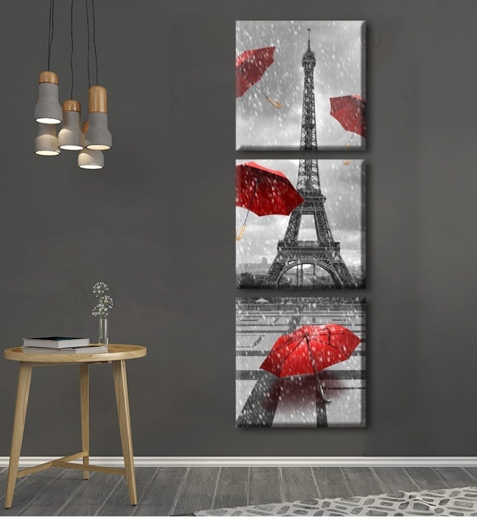 Red Umbrellas, Eiffel Tower In The Rain, Set Of (3) Canvas Prints Regarding Famous Eiffel Tower Wall Hanging Art (Gallery 6 of 15)