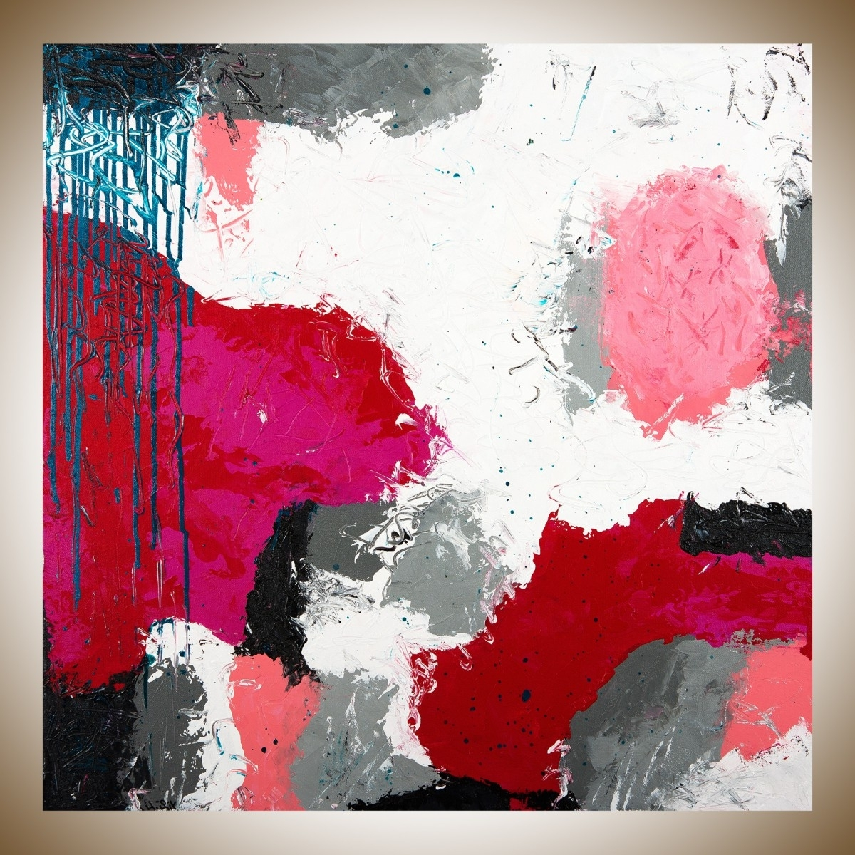 "Red White And Blue Wall Art Throughout Well Known Playfulqiqigallery 30"" X 30"" Abstract Painting Red White Grey (Gallery 1 of 15)"