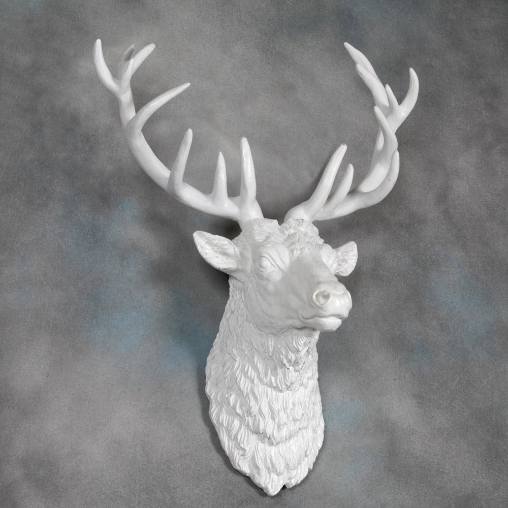 Resin Animal Heads Wall Art Regarding Newest Large Deer Stag Head Wall Mount – Pure White – Beautiful Wall Art (Gallery 5 of 15)