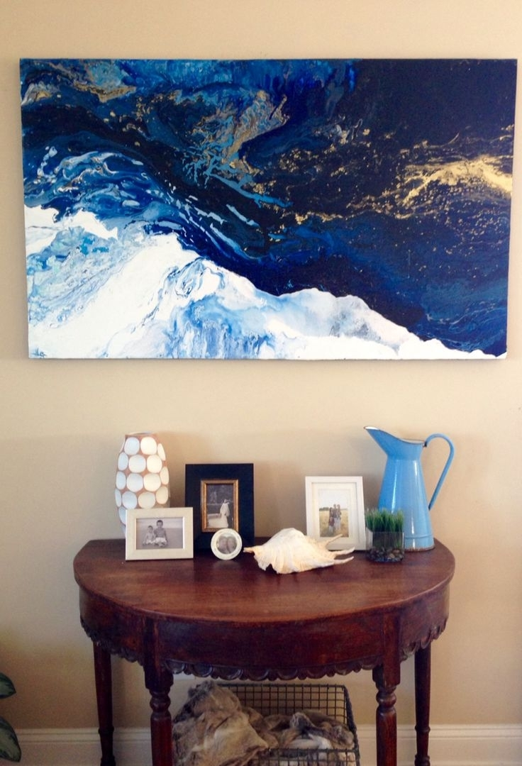 "Rider On The Storm"" Original Abstract Laura Adams Wilson. Deep For Well Known Abstract Ocean Wall Art (Gallery 14 of 15)"
