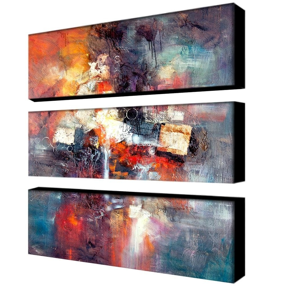 Rio 'cube Abstract Iii' 3 Piece Art Set – Free Shipping Today Throughout Most Popular Overstock Abstract Wall Art (Gallery 13 of 15)