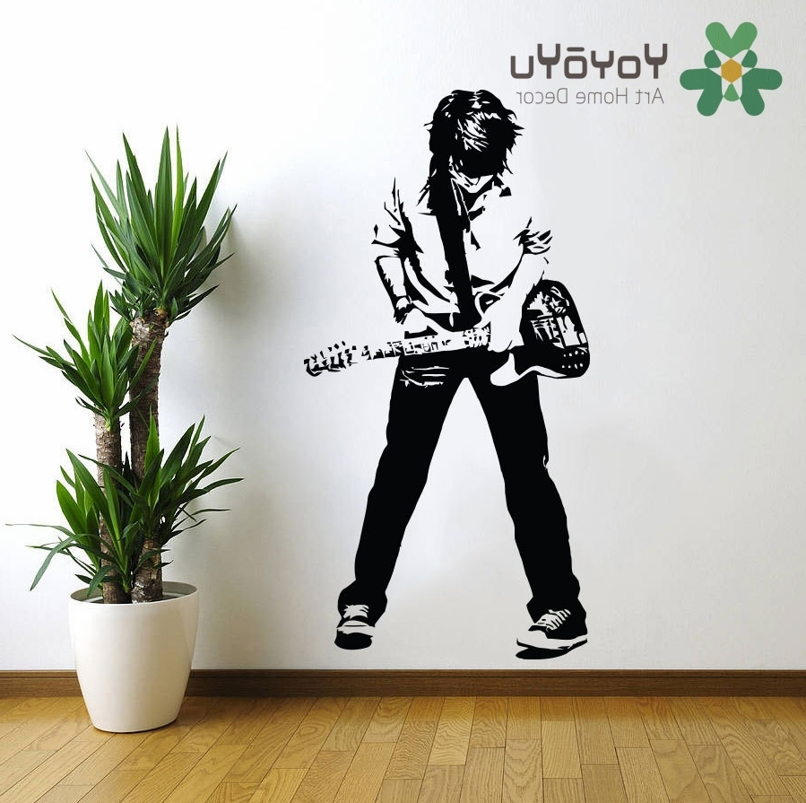 Rock And Roll Wall Art Regarding Popular Teenage Rockstar Rock And Roll Wall Decal Art Home Wall Decor (View 9 of 15)