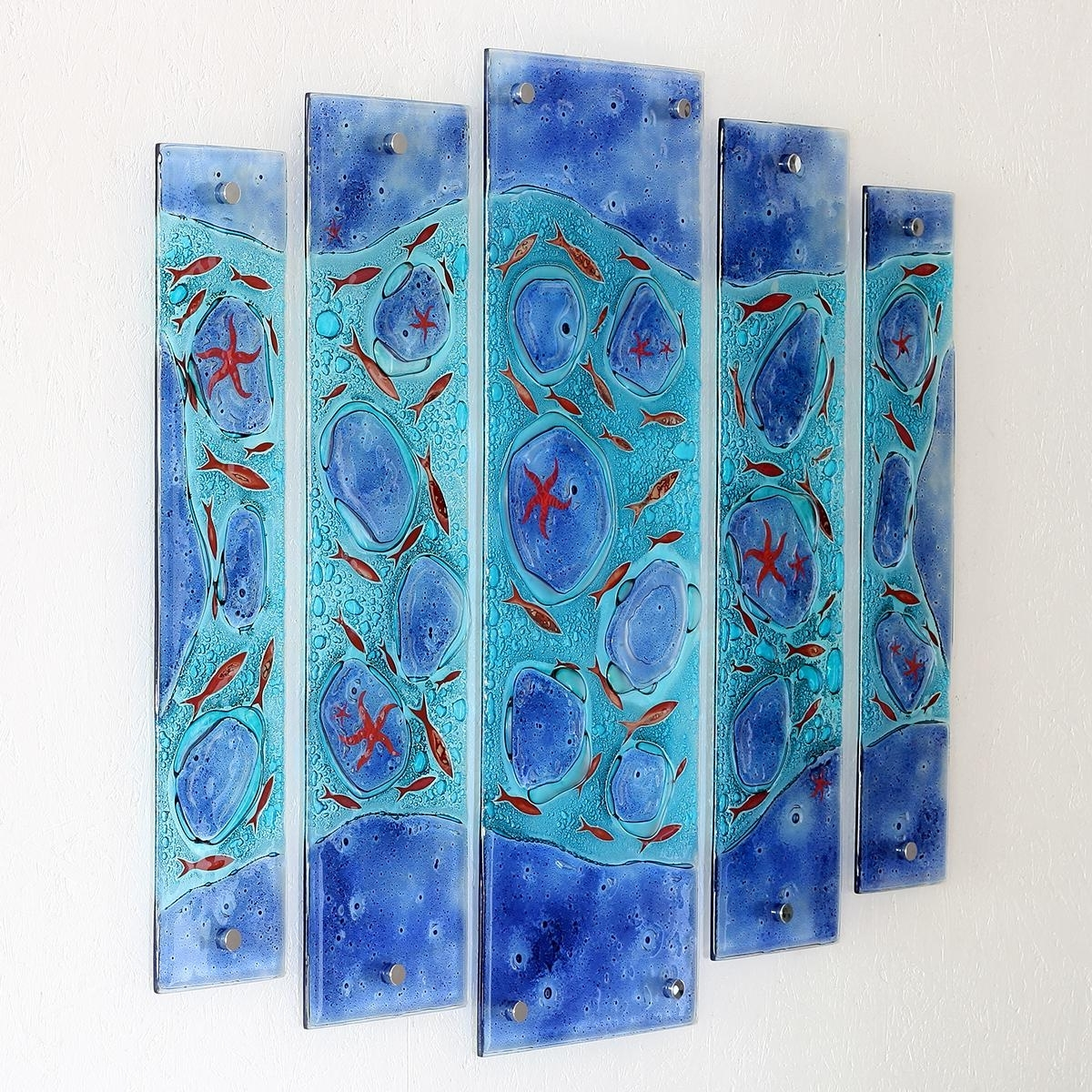 Rockpool Quintych Fused Glass Wall Artjo Downs – Jo Downs Intended For Most Recent Fused Glass Wall Art (Gallery 13 of 15)