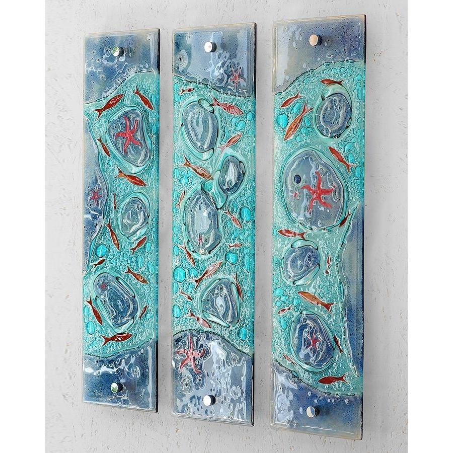 Rockpool Triptych Fused Glass Wall Artjo Downs – Jo Downs Intended For Most Up To Date Kiln Fused Glass Wall Art (View 14 of 15)