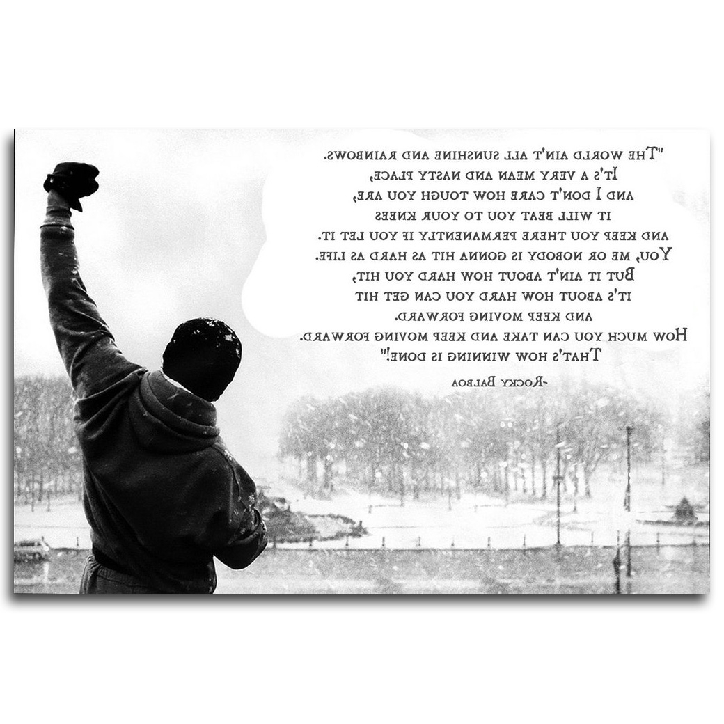 Rocky Balboa Wall Art Intended For Well Known Rocky Balboa Motivational Quote Art Silk Poster Print (Gallery 4 of 15)