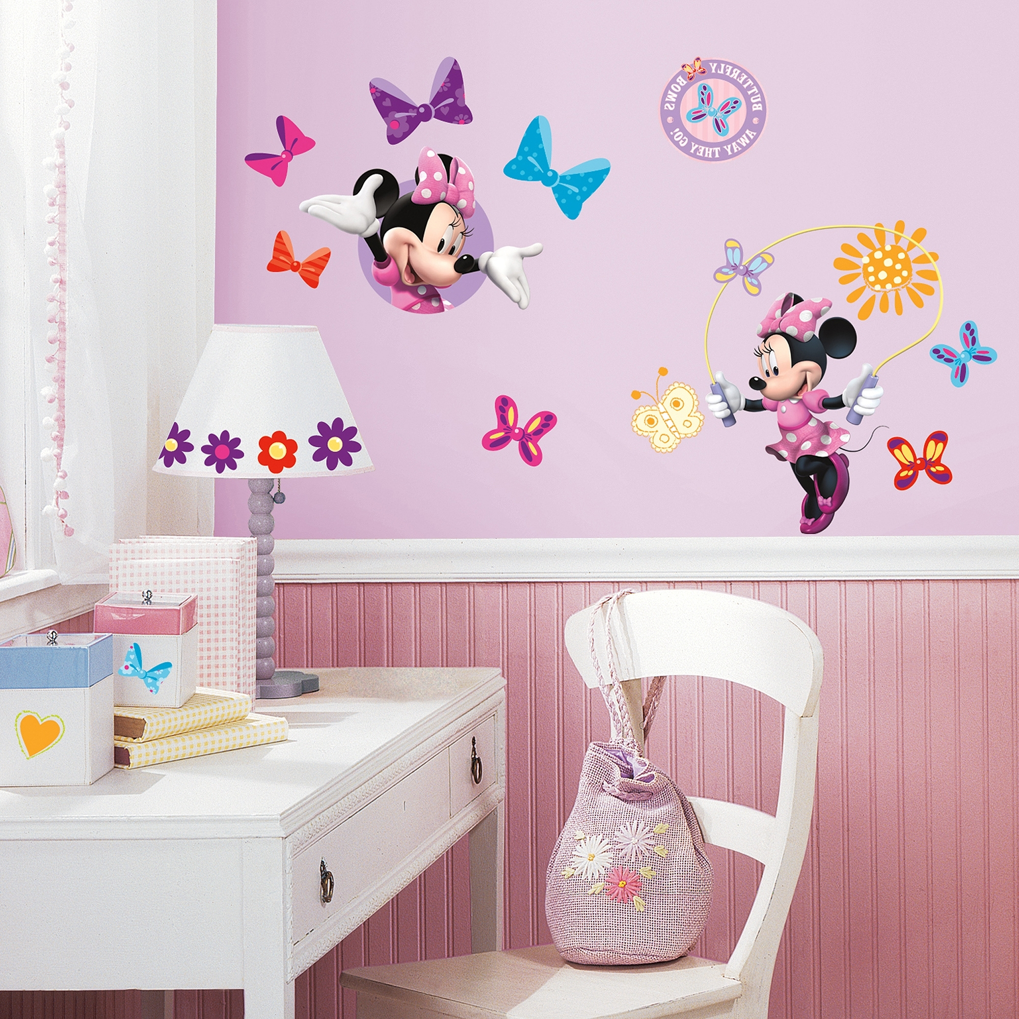 Roommates Mickey And Friends Minnie Bow Tique Peel And Stick Wall With Best And Newest Walmart Wall Stickers (View 8 of 15)