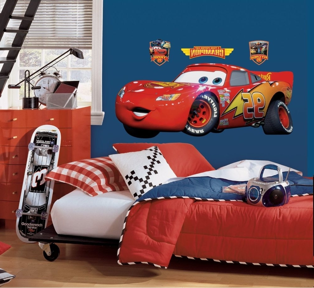 Roommates Rmk1518gm Disney Pixar Cars Lightning Mcqueen Peel And Within Well Liked Lightning Mcqueen Wall Art (View 1 of 15)