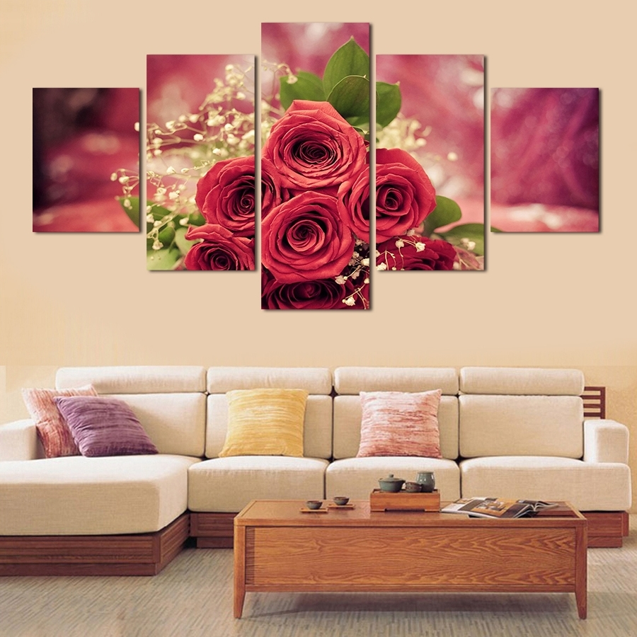 Rose Wall Painting 5Pcs Wall Art Abstract Red Rose Flower Modern Within Widely Used Red Rose Wall Art (Gallery 10 of 15)