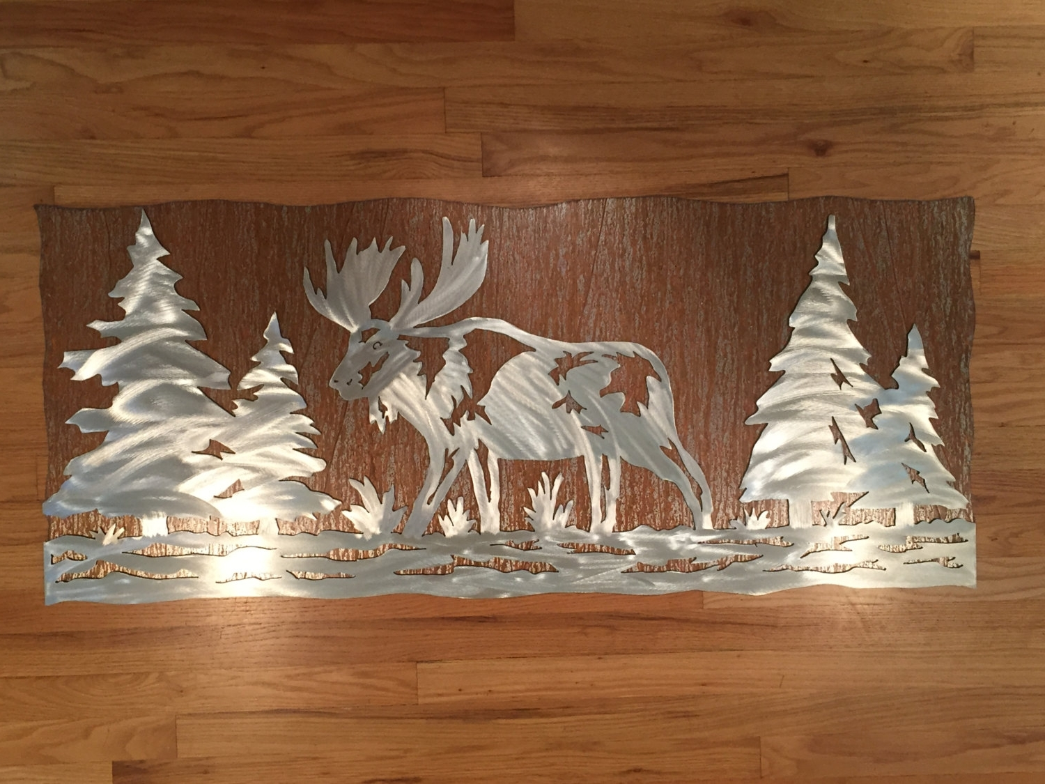 Rustic Fall Decor – Moose Artwork – Rustic Cabin Decor – Gift For In Latest Metal Pine Tree Wall Art (View 14 of 15)