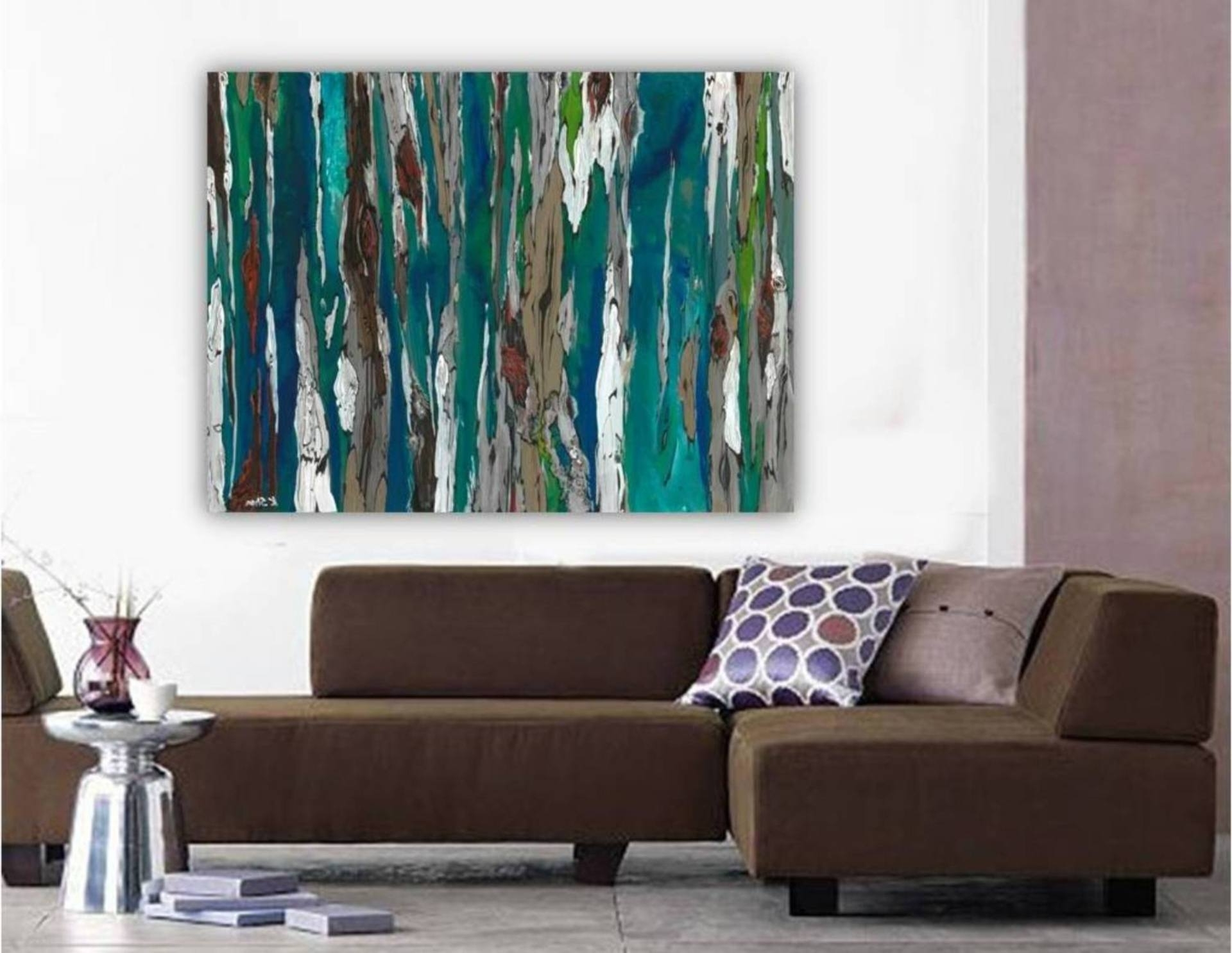 Saatchi Art: Large Contemporary Original Abstract Tree Landscape Pertaining To Well Known Teal And Brown Wall Art (View 12 of 15)