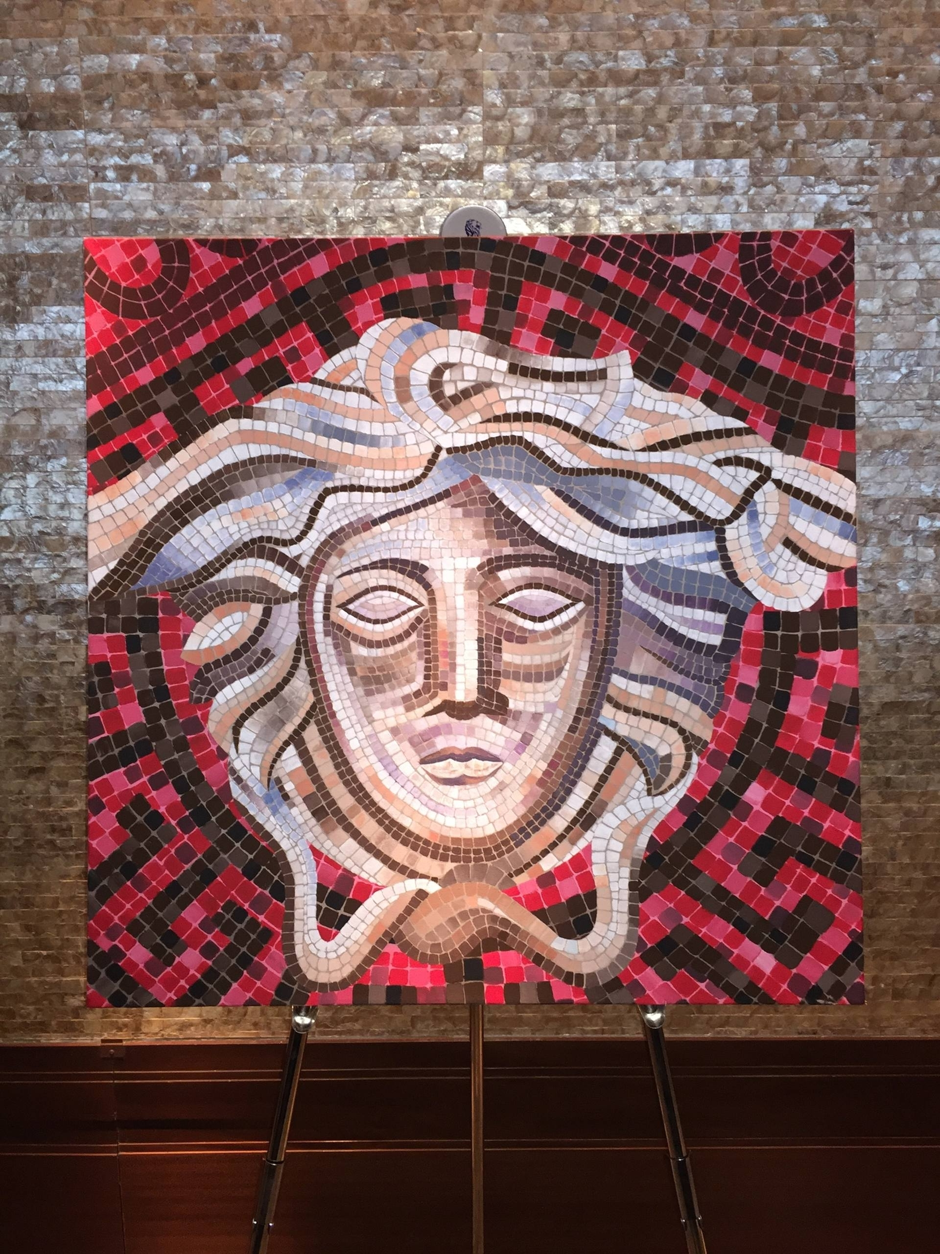 Saatchi Art: Versace Medusa Mosaic Style Painting Painting Inside Trendy Versace Wall Art (View 6 of 15)