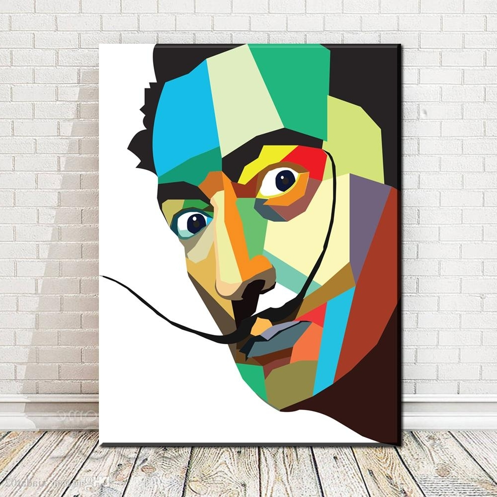 Salvador Dali Wall Art With Regard To Most Current 2018 Zz1785 Salvador Dali Watercolor Pop Art Oil Painting Face (View 9 of 15)