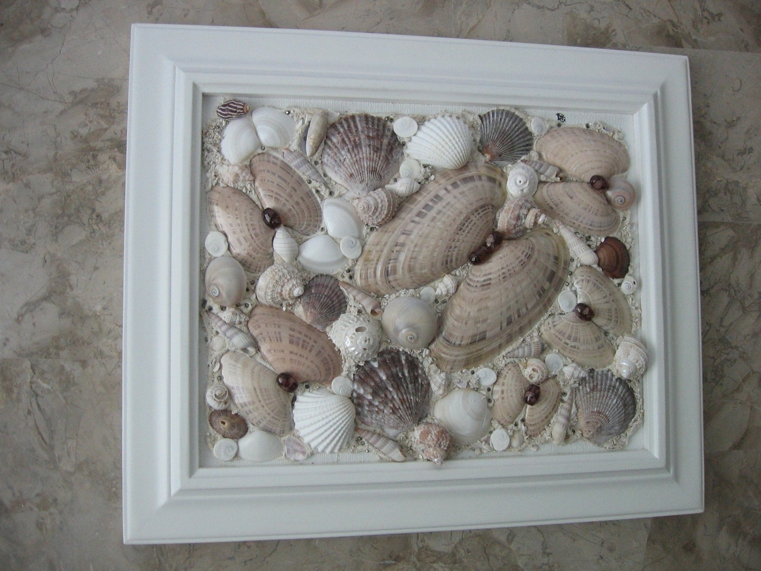 Sea Shell Watercolor Painting Art Conch Beach Landscape Seashell Throughout Current Wall Art With Seashells (View 10 of 15)
