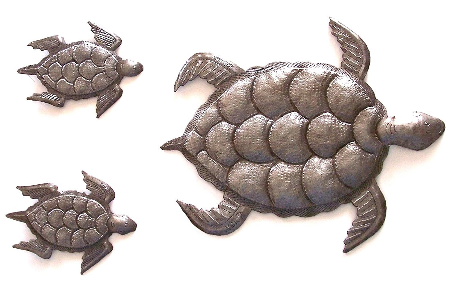Sea Turtle, Set Of 3, Swimming Left, Ocean, Beach, Metal Wall Art With Regard To Widely Used Sea Turtle Metal Wall Art (View 11 of 15)