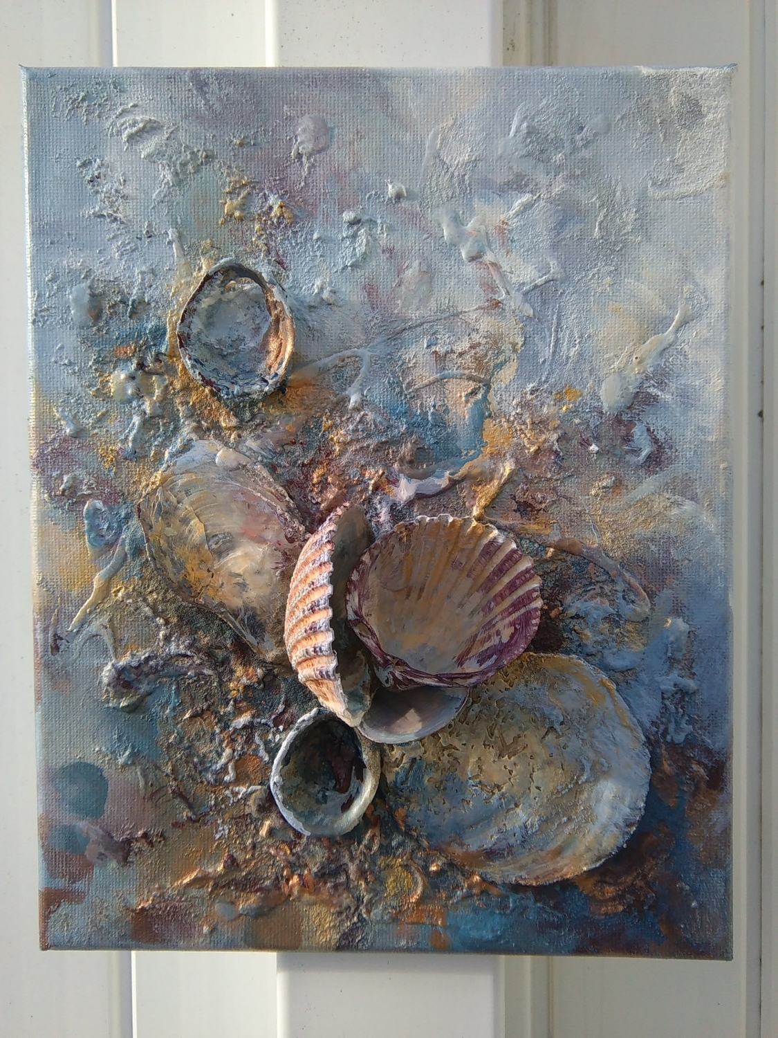 Seashells Party* Golden Original Beach Wall Art, Romantic For Recent Wall Art With Seashells (Gallery 6 of 15)