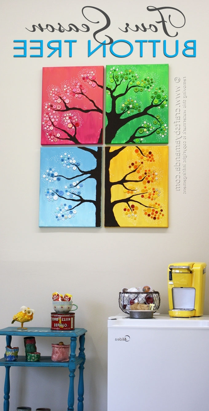 Seasonal Wall Art In Fashionable Button Tree Wall Art: 4 Seasons, Colorful Button Tree (View 12 of 15)