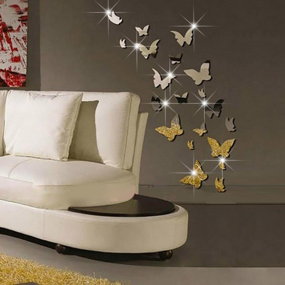 Set 3D Butterfly Mirror Effect Wall Decal Sticker Diy Home Intended For Newest Gold Coast 3D Wall Art (View 14 of 15)