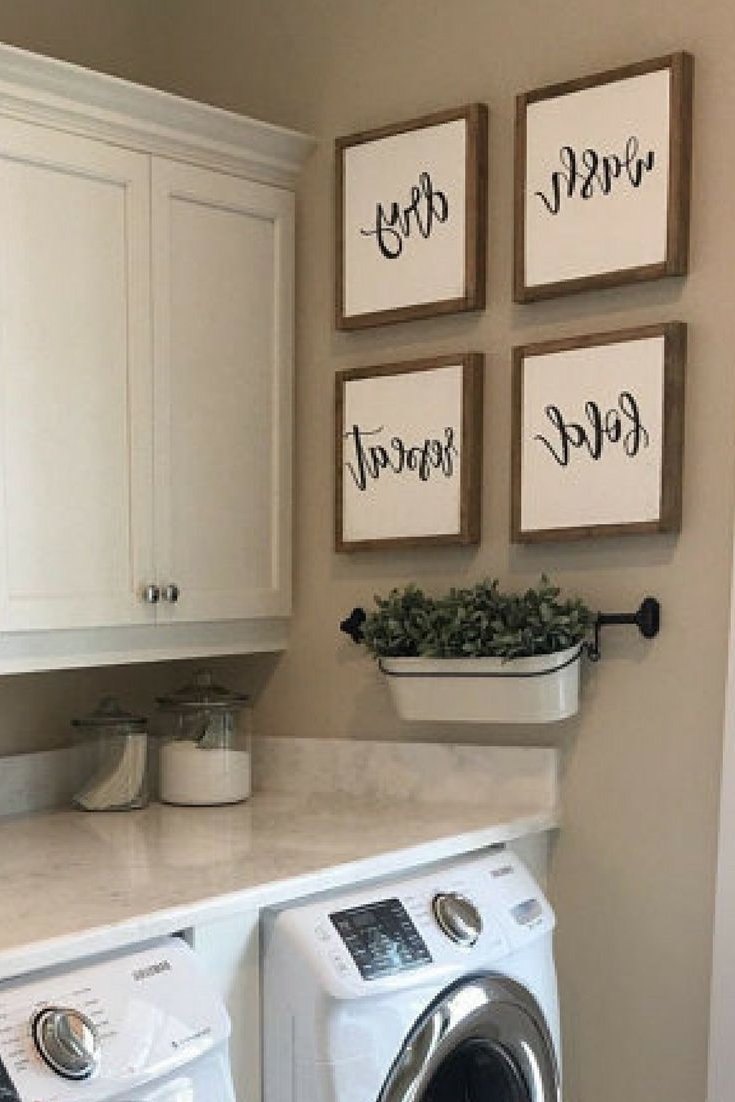 Set Of Four Farmhouse Wood Signs For Laundry Room/mudroom (View 14 of 15)