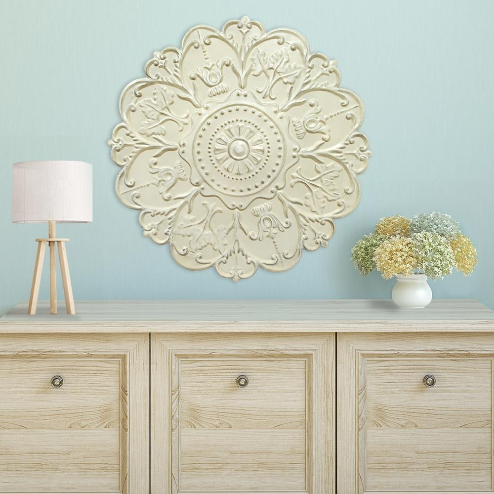 Shabby White Medallion Wall Decor S03354 – The Home Depot For Recent White Medallion Wall Art (View 12 of 15)