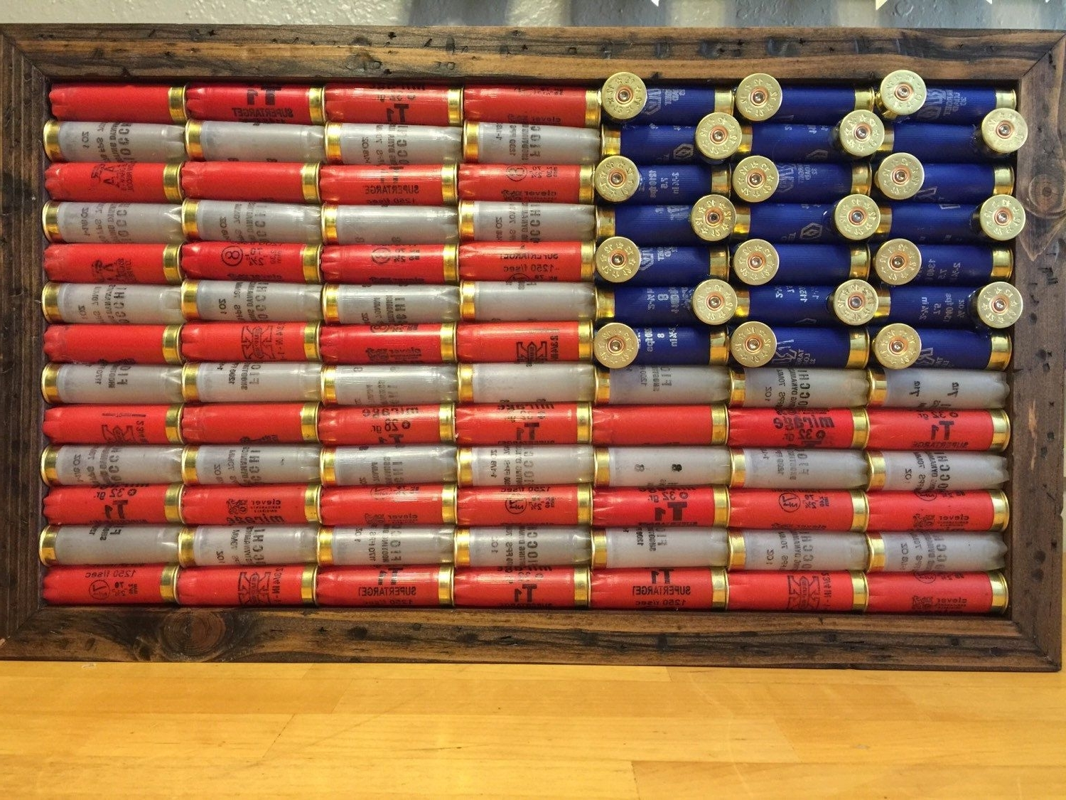 Shotgun Shell American 21X12 1/2 Inch Flag, Rustic Americana, Wall In Favorite Red White And Blue Wall Art (View 13 of 15)